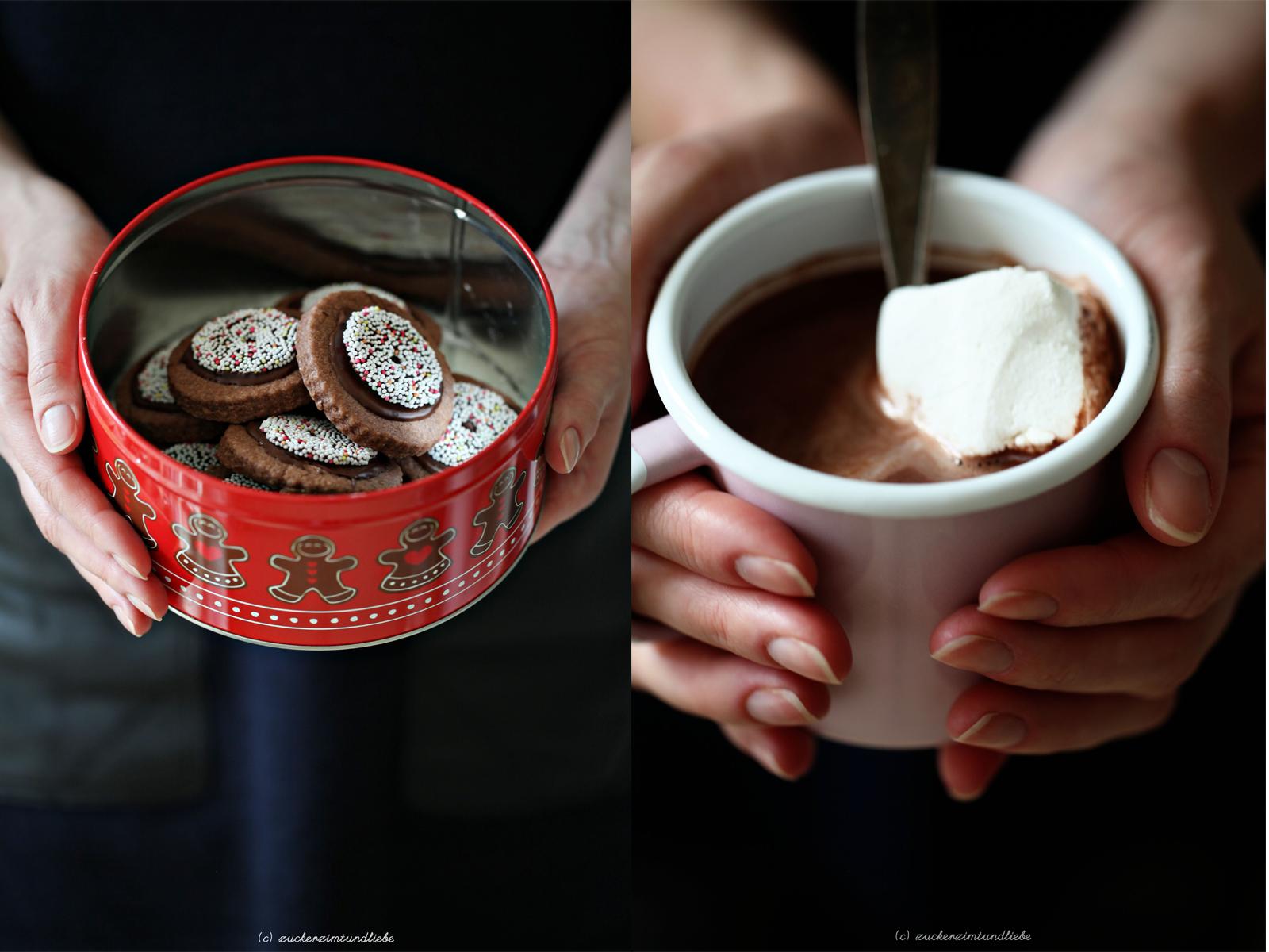 rotwein schokoladen kekse mit nonpareille und hei e schokolade mix zucker zimt und liebe. Black Bedroom Furniture Sets. Home Design Ideas