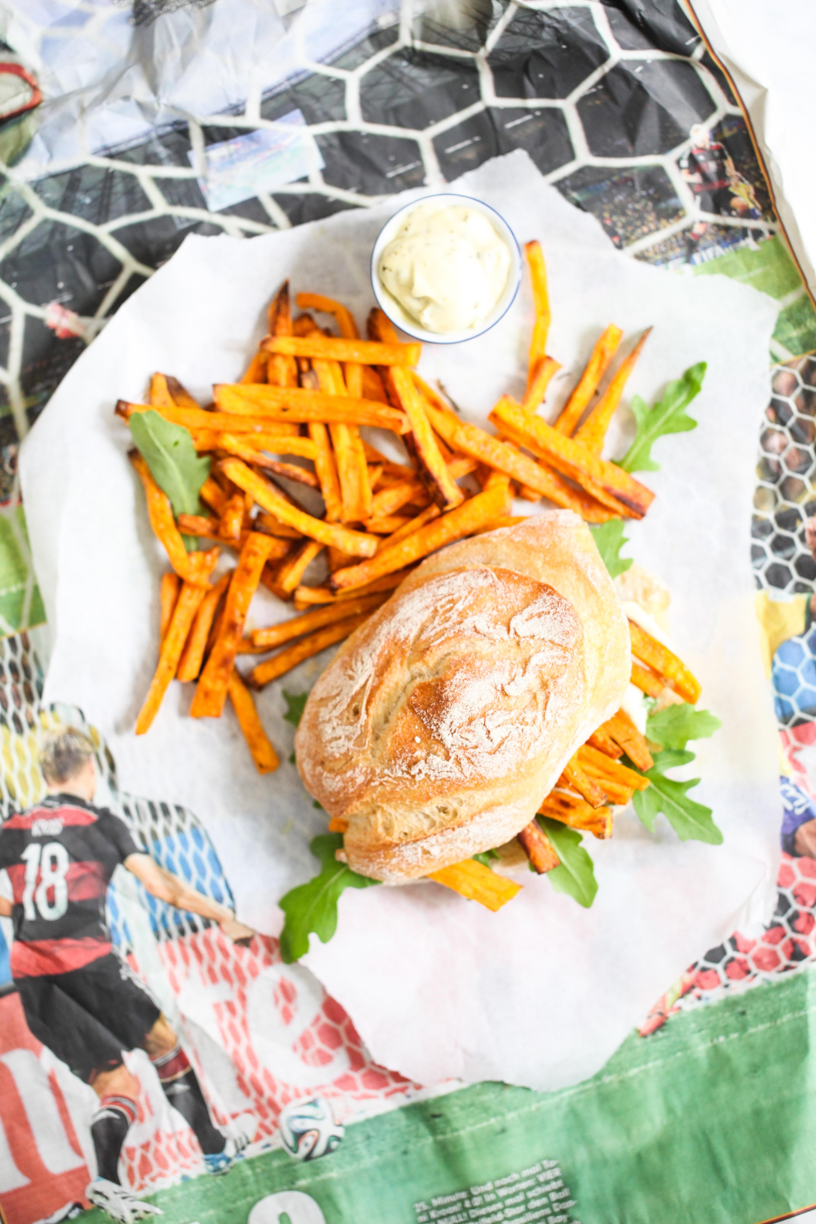 Süsskartoffel Pommer Sandwich Chip Butty Sweet potato recipe Rezept Stulle der Woche Zuckerzimtundliebe