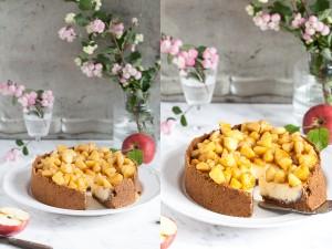 Apple Cheesecake Apfel Käsekuchen mit Amarettiniboden Zuckerzimtundliebe Apfelkuchen Apfelrezept Cheesecakerezept Herbstkuchen Herbstrezept New York Cheesecake Amarettiniboden