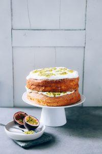 Maracuja Spongecake Rezept einfacher Kuchen festlicher Kuchen Torte Geburtstagskuchen Sommerkuchen Sommerrezept Backrezept leichter Kuchen
