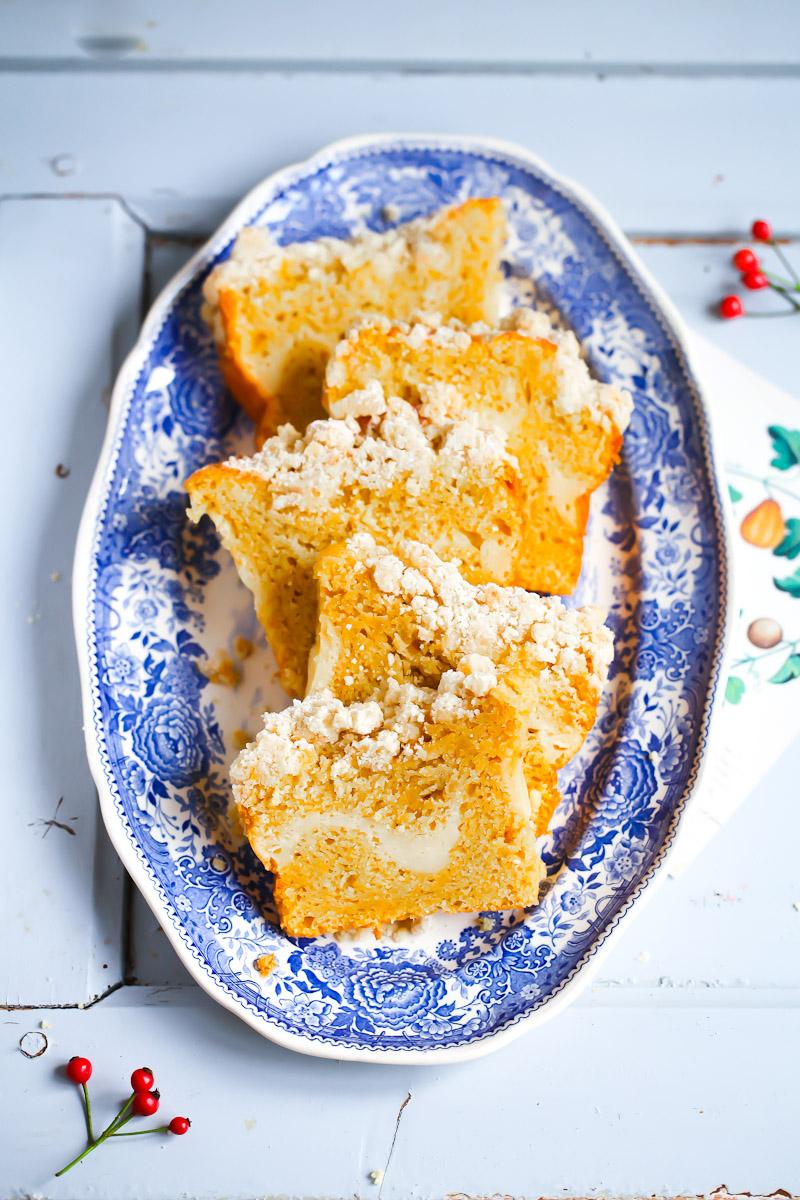 Kurbiskuchen Mit Cheesecake Fullung Zucker Zimt Und Liebe