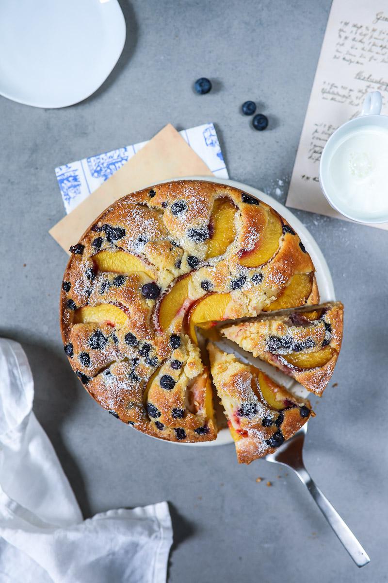 Rezept pfirsich blaubeer kuchen zucker zimt und liebe for Kuchen zusammenstellen programm