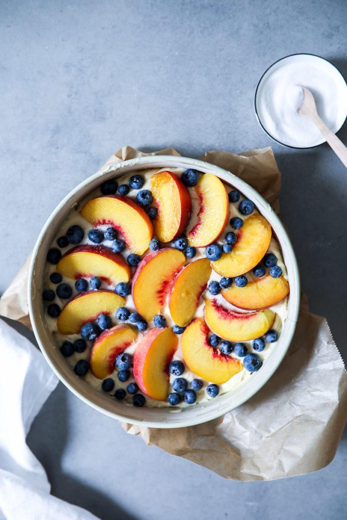 Pfirsich Blaubeer Obstkuchen Rezept Joghurtkuchen Backen Sommerkuchen Obstkuchen Rührteig Springform