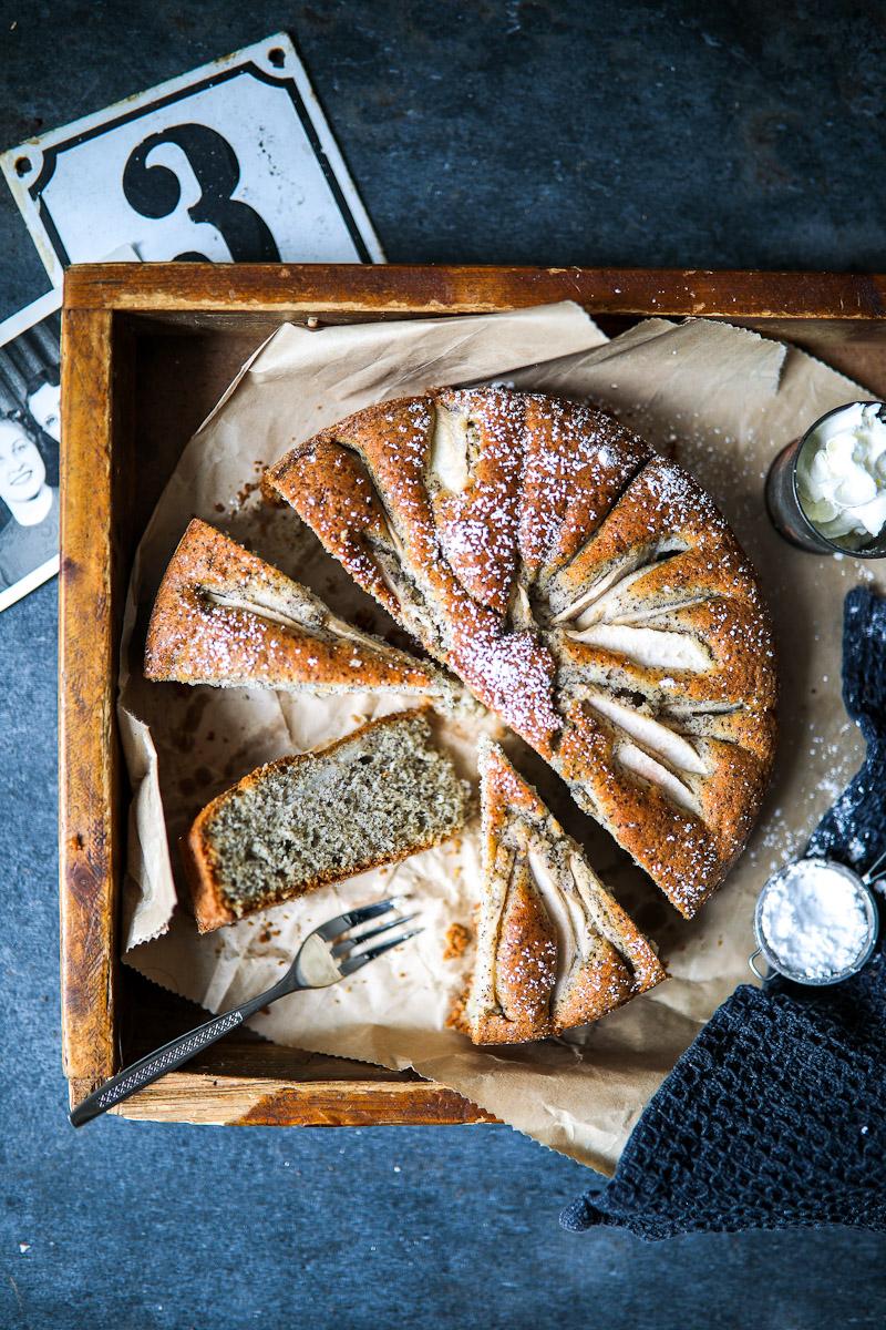 Versunkener Birnenkuchen Mit Mohn Zucker Zimt Und Liebe