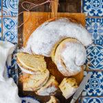 Ensaimada Rezept Mallorca Gebäck selber machen Hefezopf Puderzucker Backen Backrezept Brotrezept einfacher Hefeteig zuckerzimtundliebe foodblog backblog foodstyling