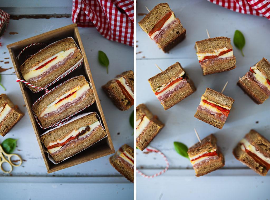 Picknick sandwich pressed sandwich picknickrezepte stullen stullenideen zuckerzimtundliebe miracel whip aufstrich pesto brot pesto stulle ciabatta rezept foodstyling
