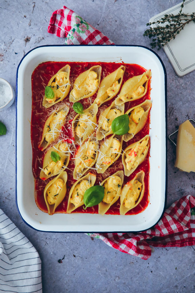 Ricotta Galbani Muschelnudeln stuffed pasta shells conchiglione kürbis pasta pumpkin pasta tomatensugo zuckerzimtundliebe einfaches pastarezept mittagessen