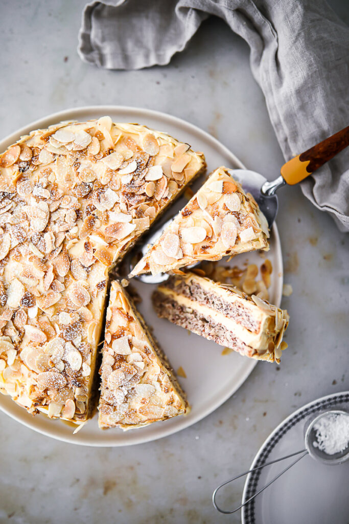 Rezept für schwedische Mandeltorte Rezept Ikea Kuchen Swedish almond cake mandeltarta recipe Zuckerzimtundliebe foodstyling einfacher kuchen pudding füllung backblog deutscher foodblog springform